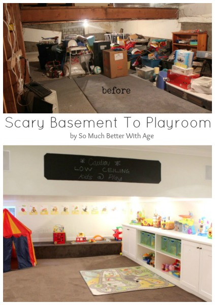 Scary basement to playroom www.somuchbetterwithage.com