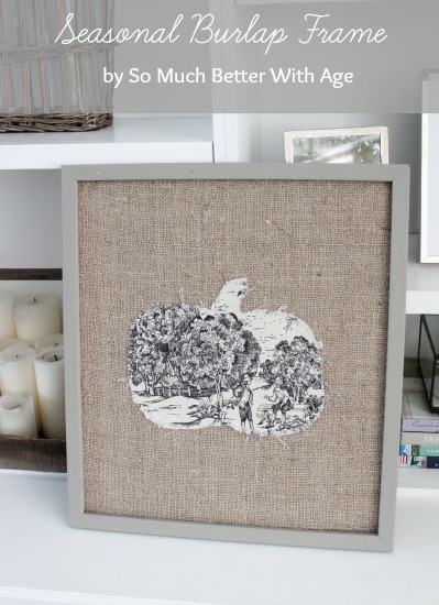 A framed burlap wall hanging