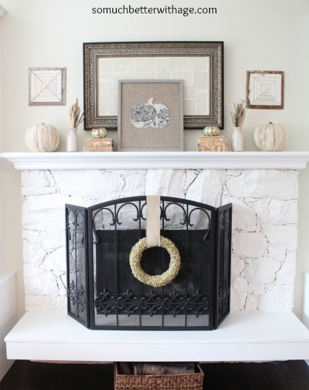 Simple fall mantel www.somuchbetterwithage.com
