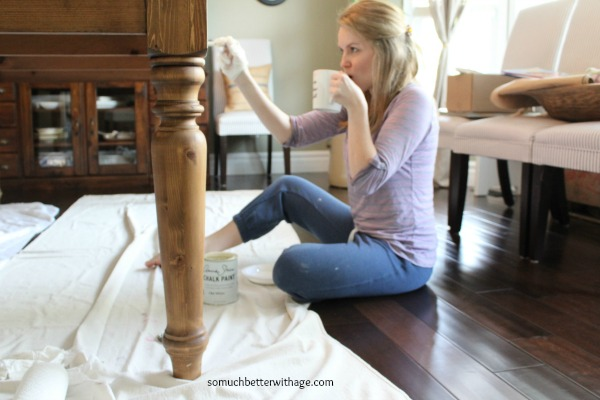 Painting table legs www.somuchbetterwithage.com