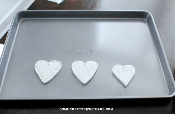 clay hearts to bake