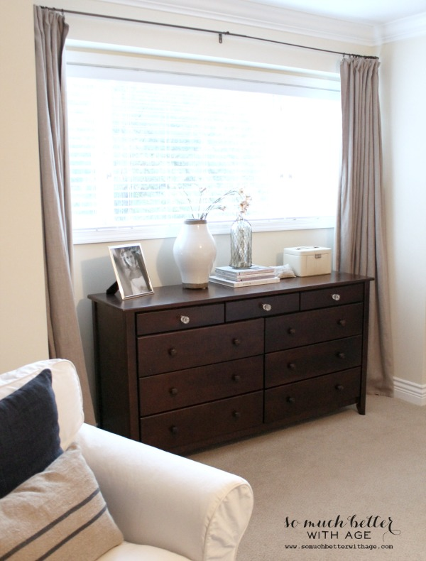 Curtains / master bedroom style and floor plan via somuchbetterwithage.com