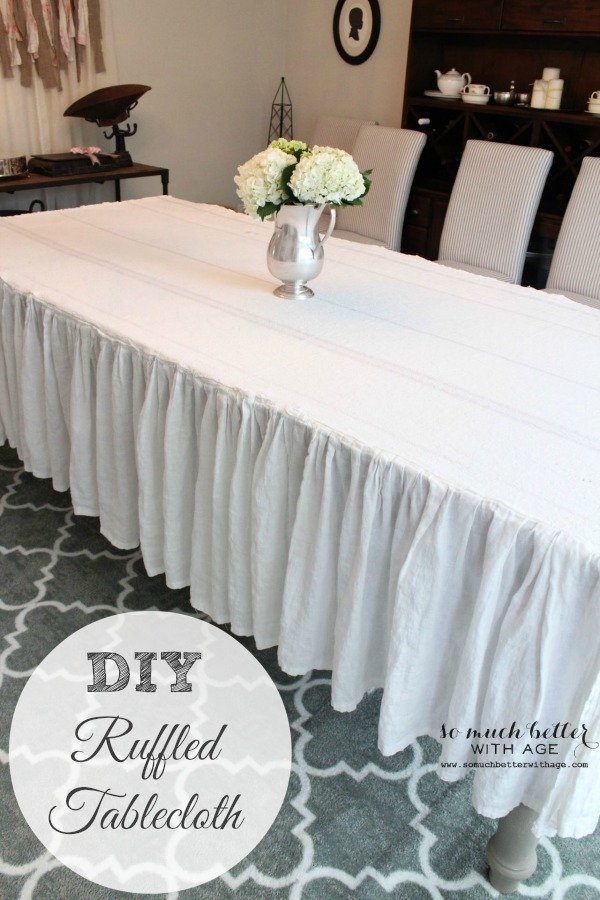 How to make a ruffled tablecloth via somuchbetterwithage.com