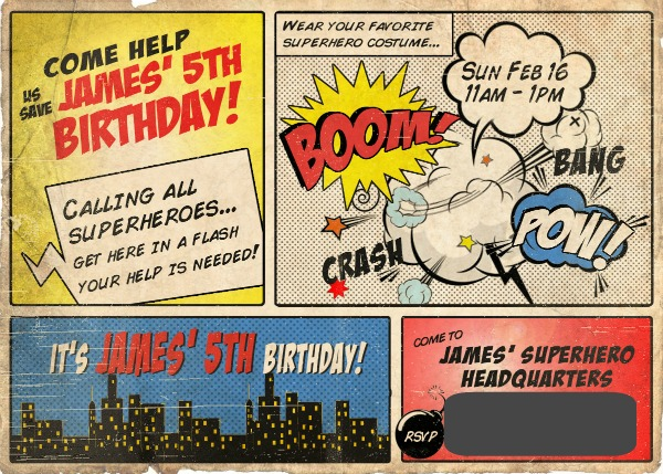 Superhero birthday invite via somuchbetterwithage.com
