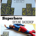 Superhero Skyline Backdrop (and Birthday Invite)