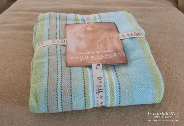 Adding color to the family room and giveaway so much for Dash and albert blankets