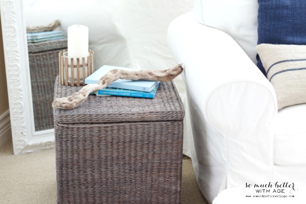 Coastal / Painting wicker driftwood grey via somuchbetterwithage.com