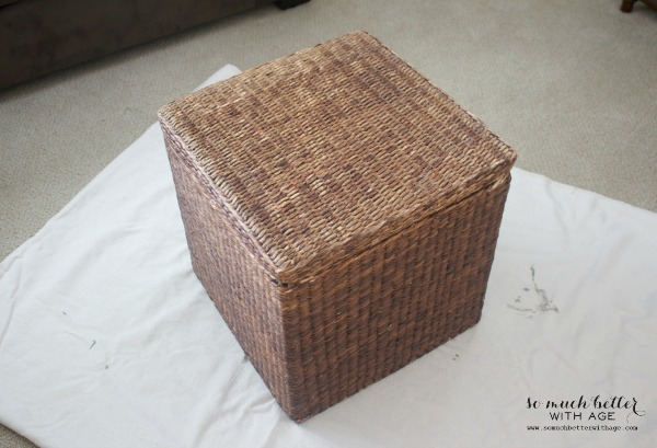 Before / Painting wicker driftwood grey via somuchbetterwithage.com