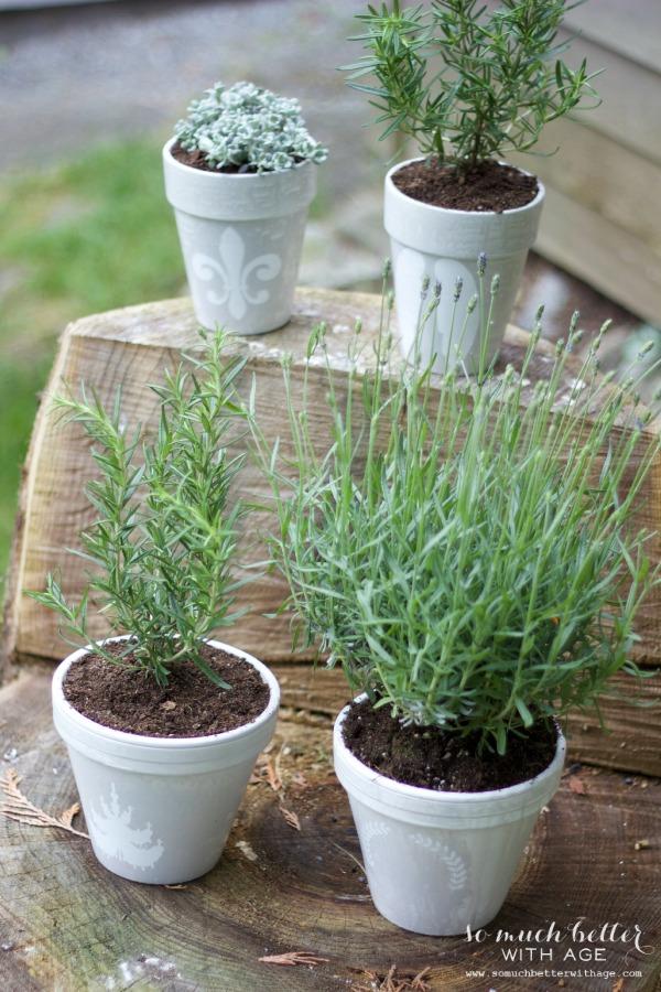 French glazed plant pots via somuchbetterwithage.com