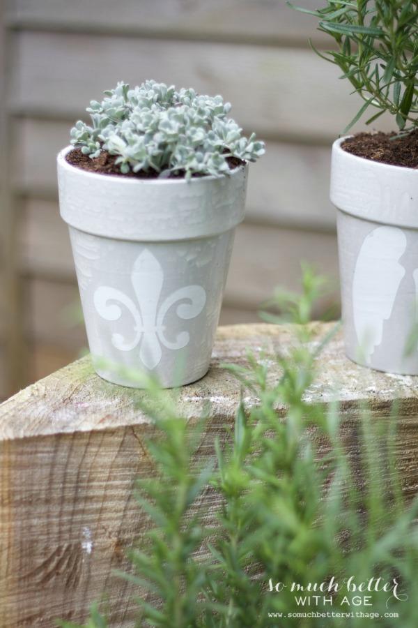Grey / French glazed plant pots via somuchbetterwithage.com