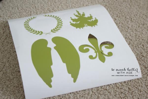 Silhouette vinyl / French glazed plant pots via somuchbetterwithage.com