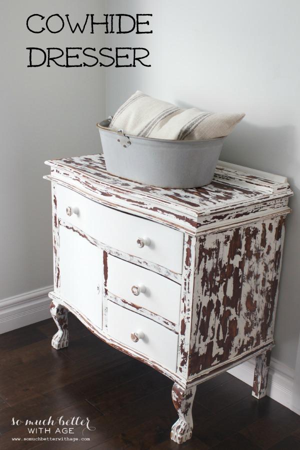Cowhide dresser |somuchbetterwithage.com