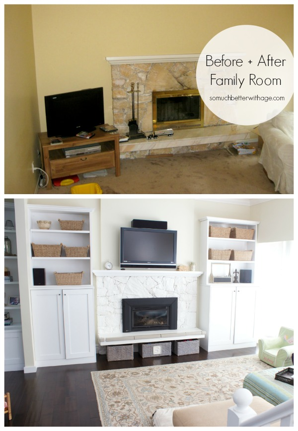 Family Room before & after | somuchbetterwithage.com