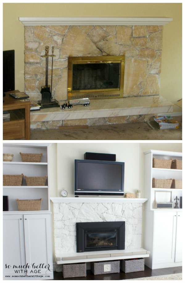 Paint your 80s fireplace with spray paint / peach granite fireplace