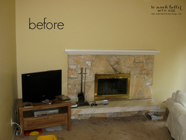 Paint your 80s fireplace with spray paint / before photo