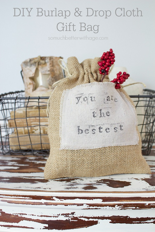 DIY Burlap & Drop Cloth Gift Bag by somuchbetterwithage.com