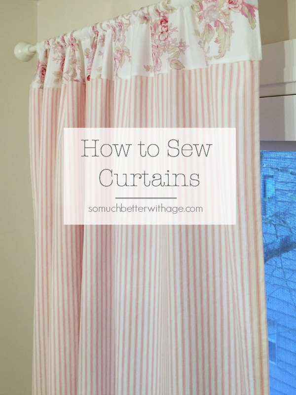 how to sew pink ticking curtains so much better with age. Black Bedroom Furniture Sets. Home Design Ideas