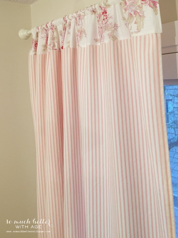 Pink ticking / How to sew curtains by somuchbetterwithage.com