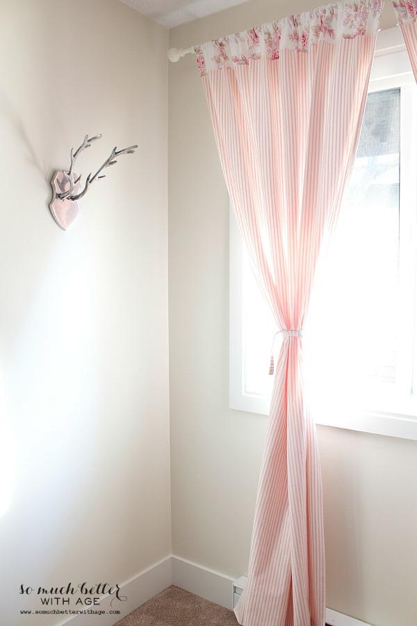 Scandinavian pink ticking curtains | somuchbetterwithage.com