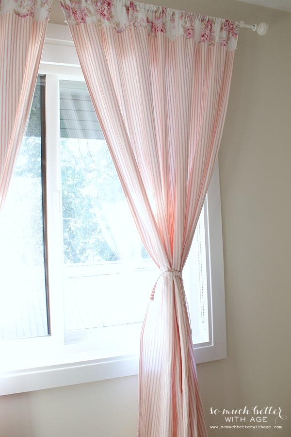Pink ticking Scandinavian curtains | somuchbetterwithage.com