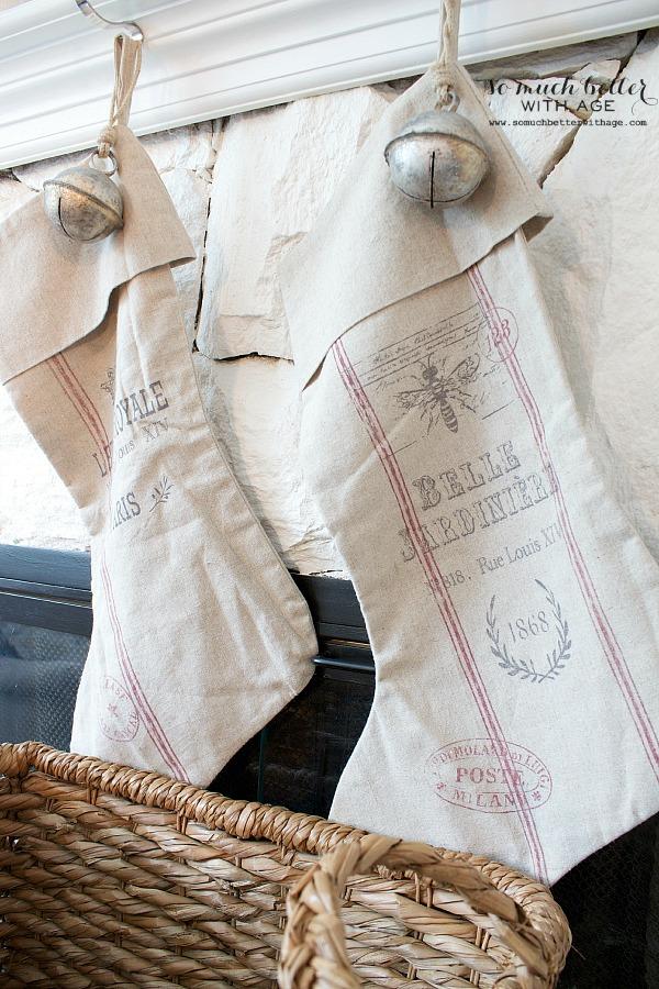 French grain sack Christmas stockings | somuchbetterwithage.com