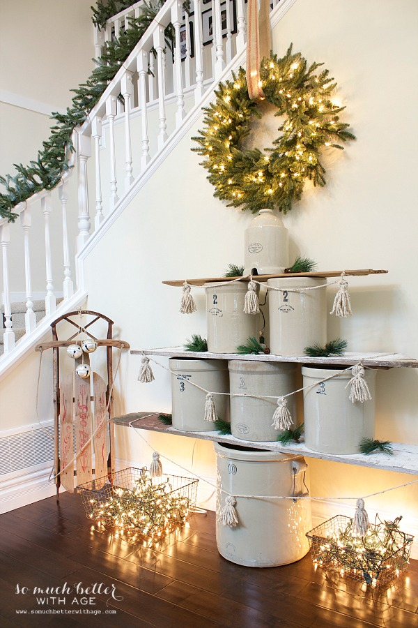 Holiday Housewalk Crock tree | somuchbetterwithage.com