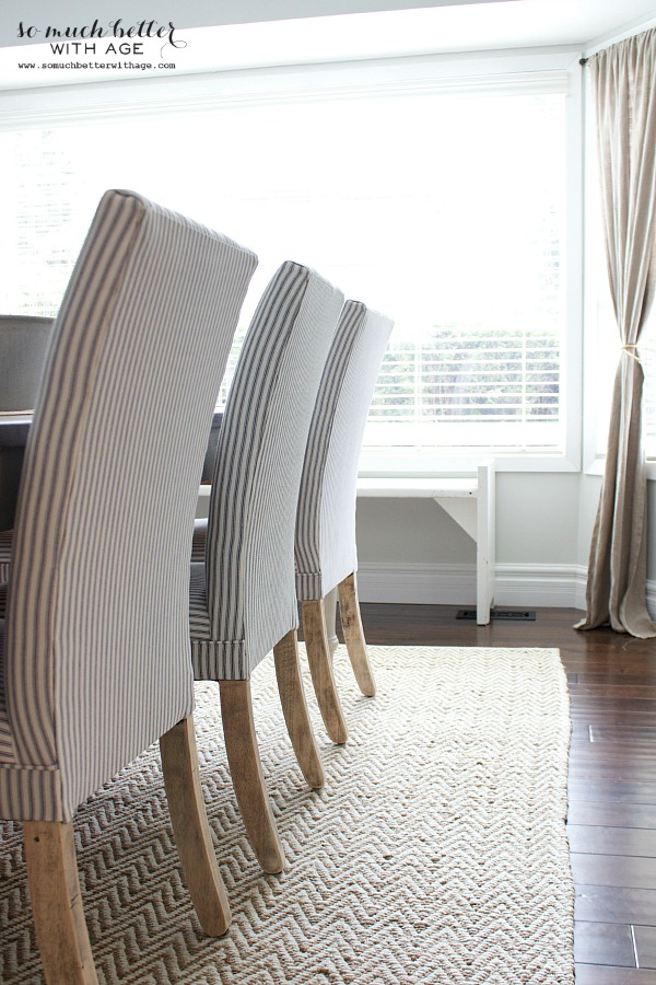 Blue ticking stripe chairs by somuchbetterwithage.com
