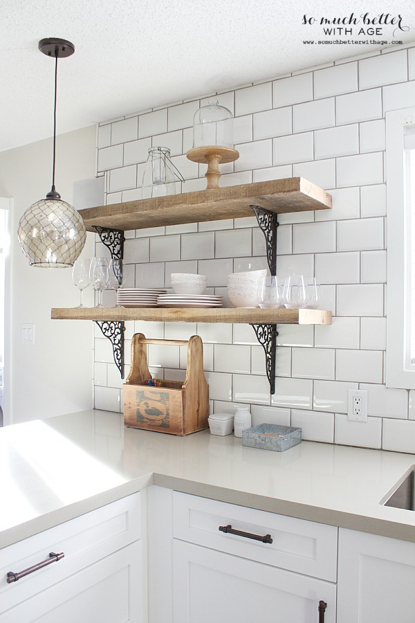 rustic industrial kitchen shelves so much better with age