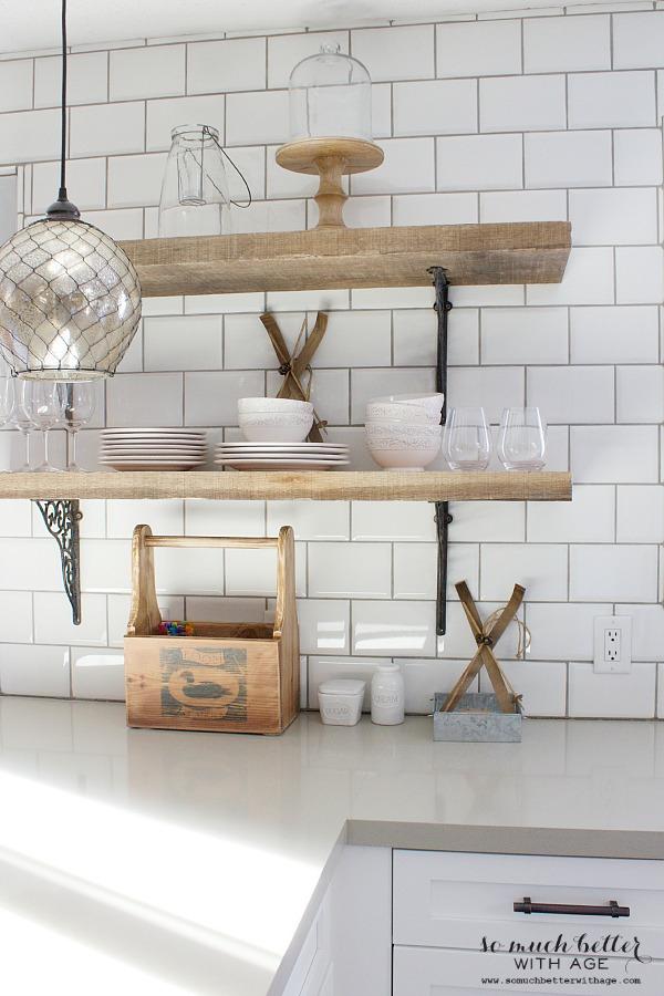 Rustic wooden shelves | somuchbetterwithage.com