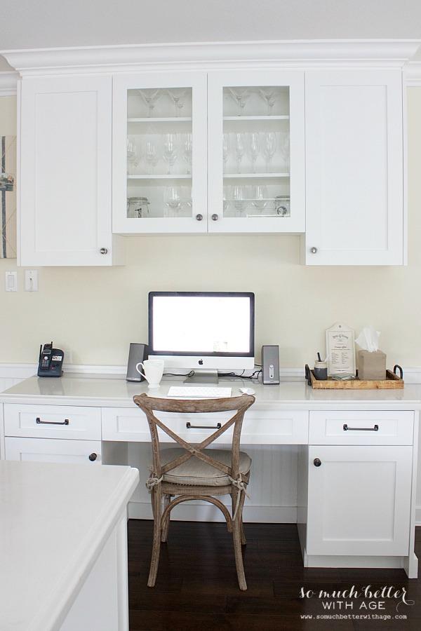Updated kitchen office | somuchbetterwithage.com