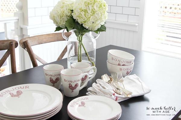 French bonjour dinner plates | somuchbetterwithage.com
