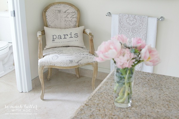 Paris pillow & French chair | somuchbetterwithage.com