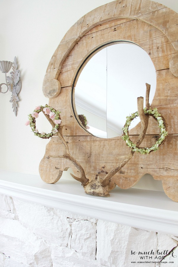 Rustic mirror and antlers