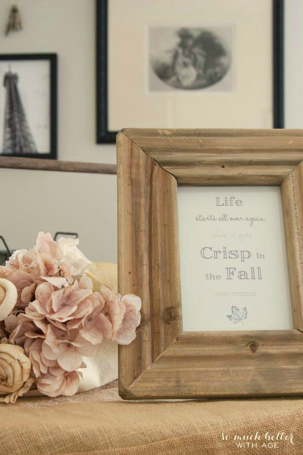 Crisp free fall printable and fall vignette | somuchbetterwithage.com