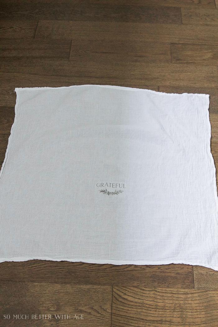 flour sack tea towel - Thanksgiving napkin transfer tutorial