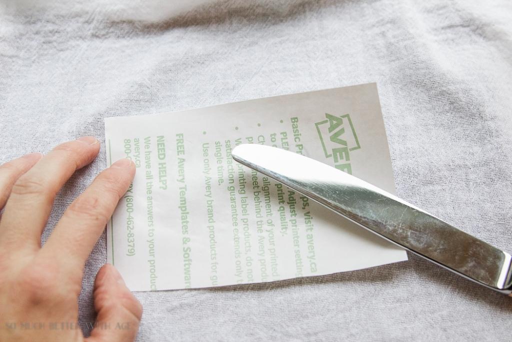 wax paper transfer- Thanksgiving napkin transfer tutorial