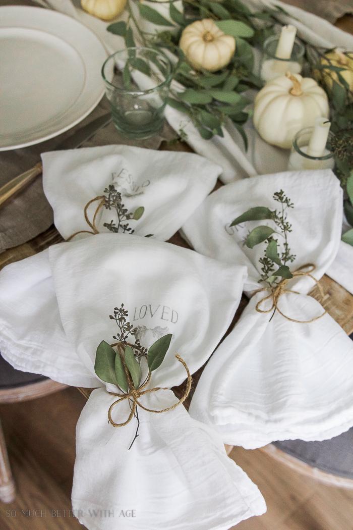 white pumpkins, seeded eucalyptus - Thanksgiving napkin transfer tutorial
