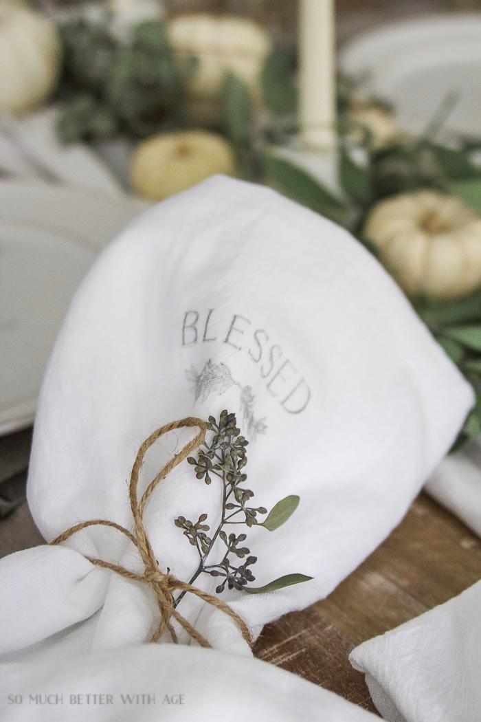 blessed imprint on tea towel - Thanksgiving napkin transfer tutorial