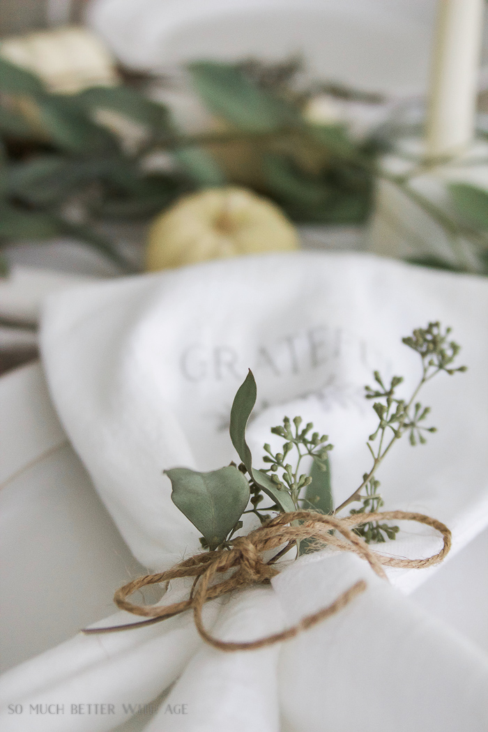 wax paper transfer on white tea towels- Thanksgiving napkin transfer tutorial