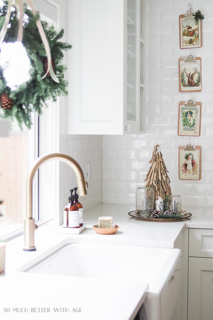 Vertical Christmas garland, green wreath- Christmas Kitchen Tour 2016