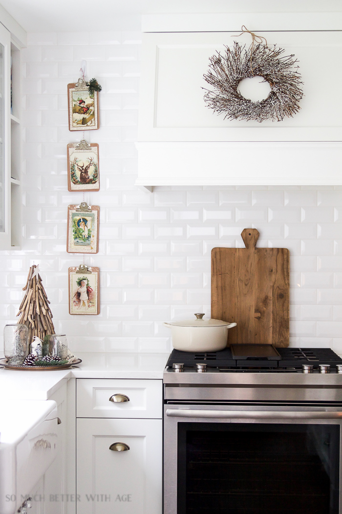 White kitchen subway tile- Christmas Kitchen Tour 2016