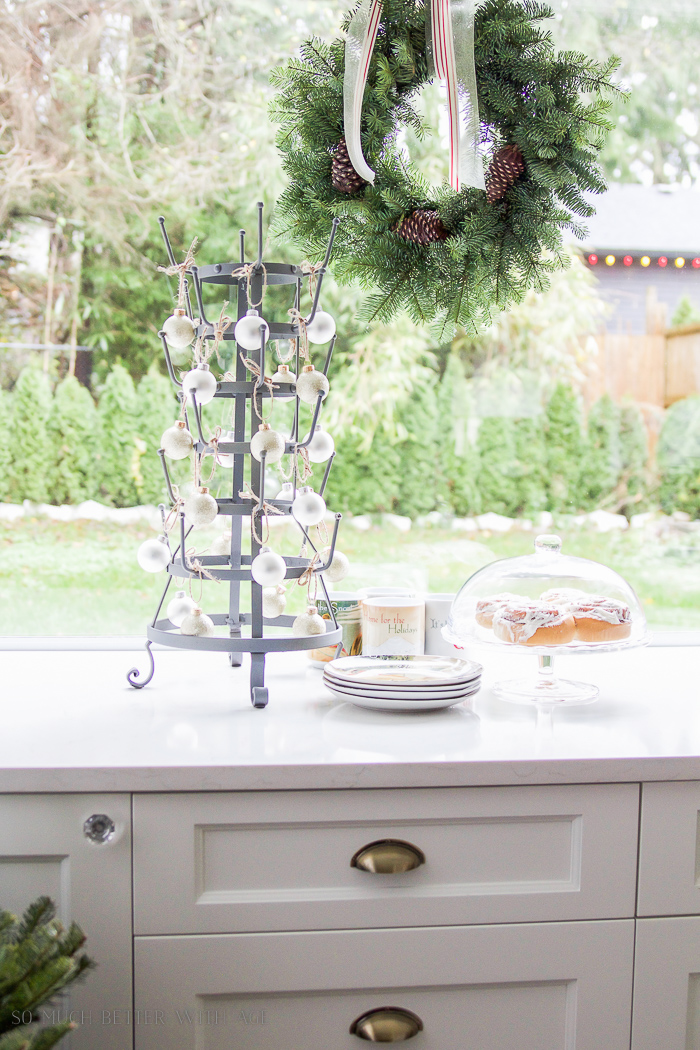White kitchen, bronze handles- Christmas kitchen tour 2016