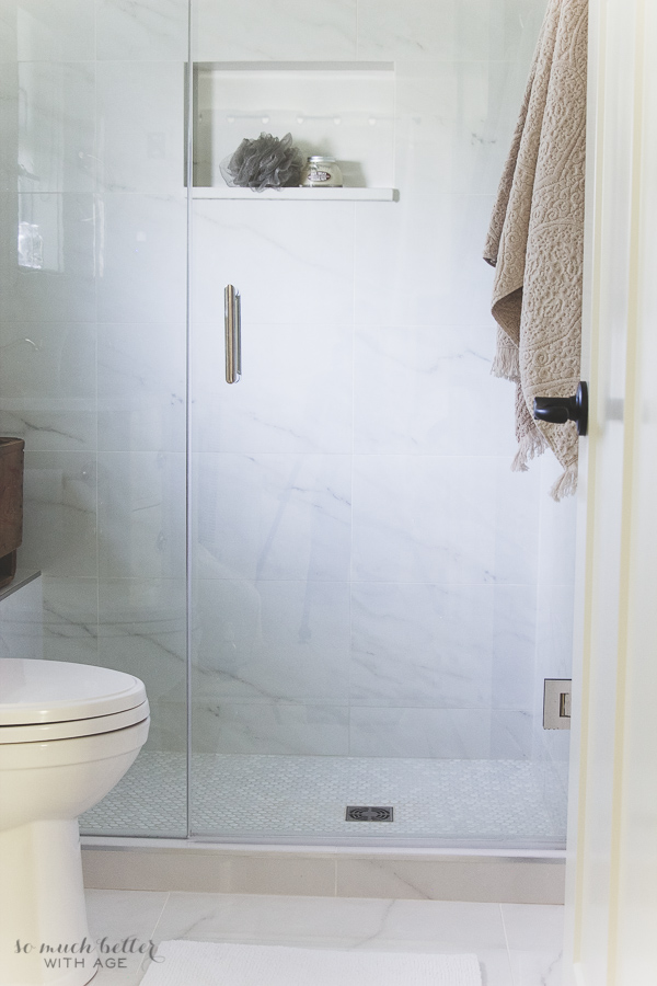 Restoration Hardware Outlet >> Faux Carrara Marble Master Ensuite   So Much Better With Age