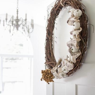 Fall Pumpkin and Ribbon Wreath