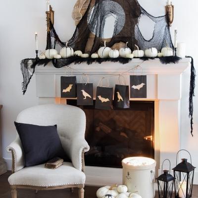 Classic Black Halloween Mantel Decor
