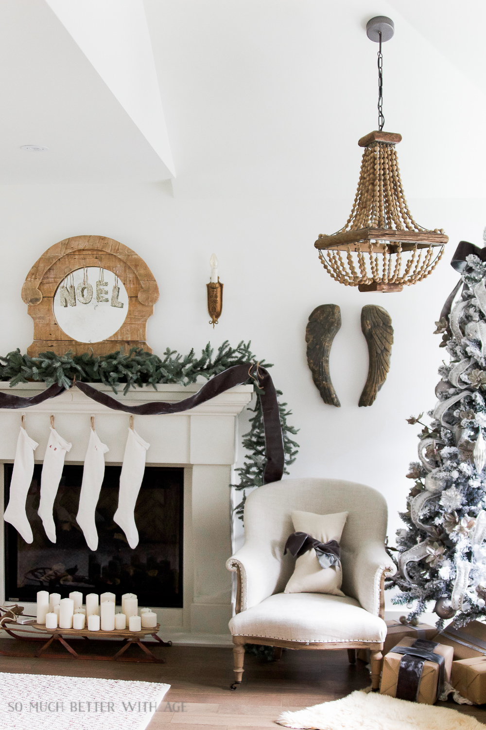 Fireplace mantel with green garland, European stockings - Christmas Mantel 2016