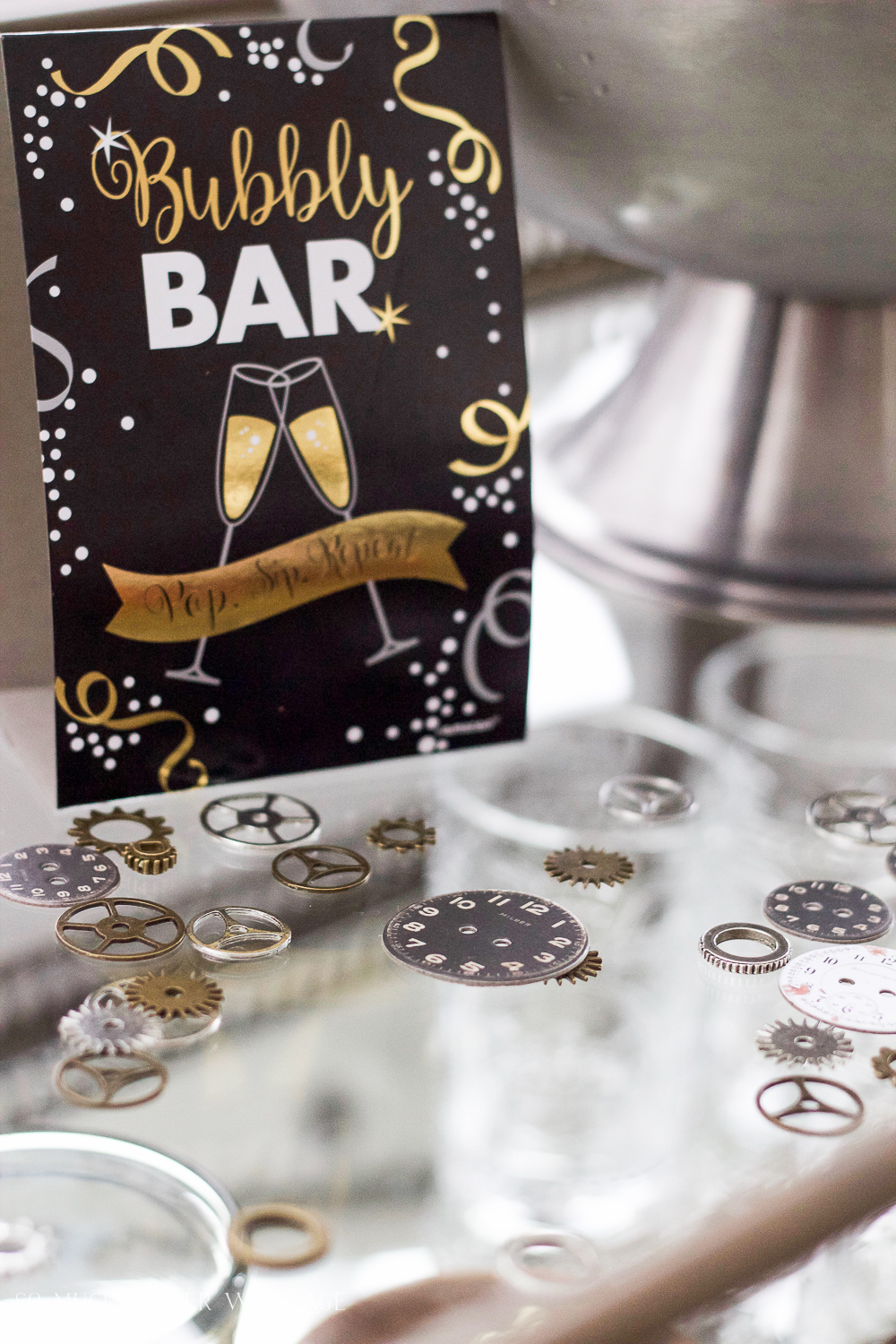 Clock gears for party decor / A New Year's Eve Party Bubbly Bar with Party Tips